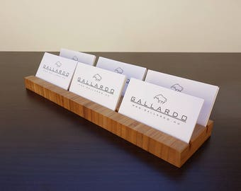 Multiple Wood Business Card Holder. Wooden Card Holder. Wood Business Card Stand. Office Card Display. Bamboo Card Holder
