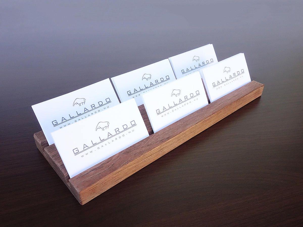 Wooden Multiple Business Card Holder. 2 x 3 Card Slot. Wood Paper ...