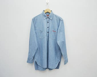 HYSTERIC GLAMOUR Vintage Hysteric Glamour Chambray Half Button Down Made In Japan Long Sleeve Shirt Size M-L