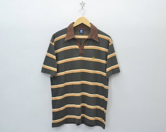 HANG TEN Shirt Vintage 90's Hang Ten Multicolor Stripes Polo Tee T Shirt Size L
