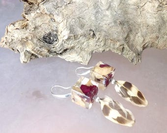 Sparkle Burgundy rose petal and leaf earrings