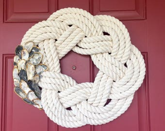 XL Oyster Shell Nautical Rope Wreath