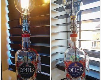 Upcycled 70cl 'OPHIR' Gin bottle with Vintage globe bulb.