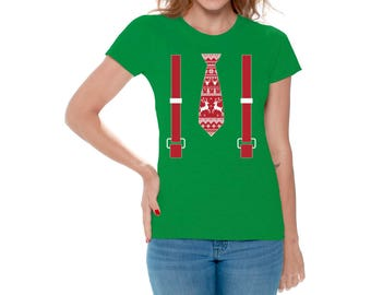 Red Tie With Suspenders Ugly Christmas Shirt For Women Christmas Shirt For Women Women's Holiday Red Tie With Suspenders Shirt Xmas Gifts