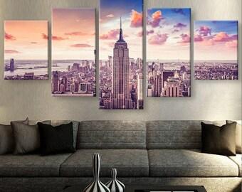 New York Canvas Art, New York Wall Art, New York Sunset Large Canvas Art Part 34