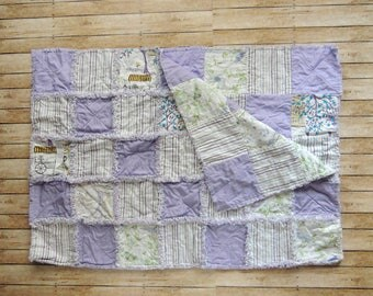 Purple Rag Quilt - Blanket - Paris Fabric - Rag Quilt - Purple Throw - Patchwork Quilt - Throw Quilt - Shower Gift - Home Decor