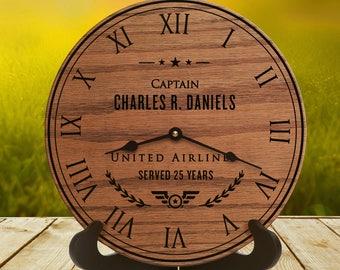 Gift for Pilot - Gift for Commercial Pilot - Captain - Charter Pilot - Airline Pilot - Pilot Wife - Captain - Navigator - Pilot Clock Gift