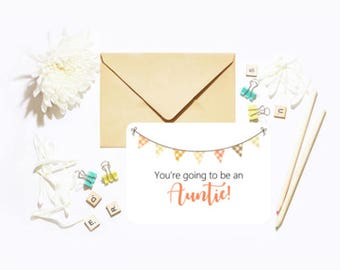 You're Going To Be An Auntie! Single Postcard With Envelope Baby Pregnancy Announcement