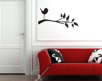 Single Bird on Branch with Leaves Home and Family Vinyl Wall Decal