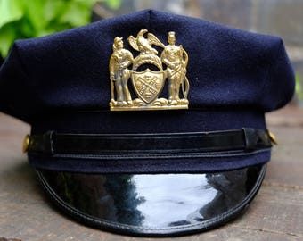 Authentic Vintage Mid 20th Century NYPD Gravenette Police Cap Hat - 8 Point
