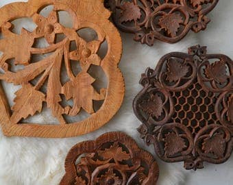 Indian Carved Wood Trivet Set Of 4 Vintage Boho Kitchen Home Decor Accessories