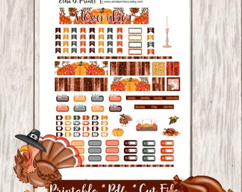Thanksgiving Harvest Printable Planner Stickers/Pocket Travelers Notebook/Monthly Kit/Annie Plans Printable/Fall November Glam Turkey Day