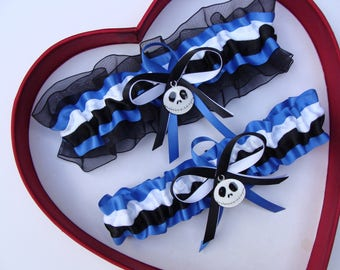 New Handmade Nightmare Before Christmas Jack Skellington Wedding Garter White Black Royal Blue Prom Garters Homecoming Wedding Garter Set
