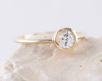Simple Diamond ring, Bezel Solitaire Ring, thin engagement ring, thin solitaire ring, delicate diamond ring,Thin Delicate Solitaire Ring