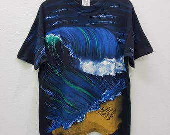 RARE Vintage Wild Oats Allover Print T-shirts Nice Design Large Size Made In Usa