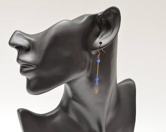 Cobalt blue long dangle earrings.