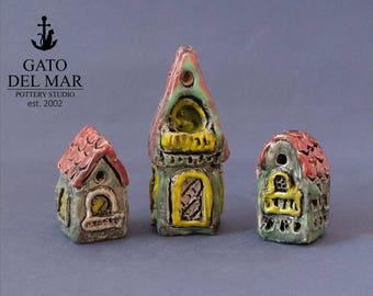 Three Houses - miniature pottery houses, Ceramic houses, Small clay houses, Tiny house