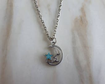 Blue star pendant etsy silver half moon with small blue star pendant on 18 or 30 inch silver chain aloadofball Gallery