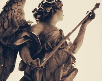 Roma, Rome, Italy, Angel, Ponte Sant'Angelo, Angelo, Guardian, Wings, Inspiring, Fine Art, Photo Print, Wall Art, Roma, Sepia