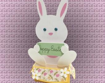 Hoppy Easter - 3D pop up box card of easter bunny rabbit