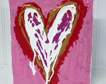5.25x6 Heart Painting on Wood Block