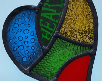 Stained glass hand painted heart