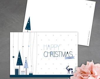 8 Christmas cards - blue and light blue