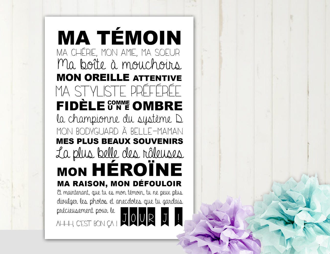 affiche 35 x 42 cm pour vos gentils t moins de mariage. Black Bedroom Furniture Sets. Home Design Ideas