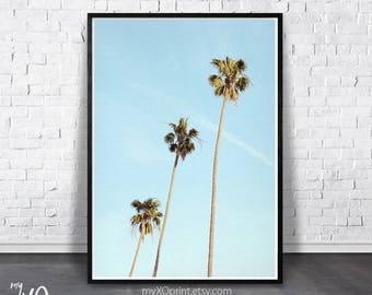 Tropical Print, Palm Wall Decor, Hawaii Tree Print, Palm Tree Art Print, Blue Sky Print, Beach Wall Art, Palm Tree Photo, Tropical Printable