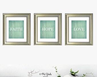 Faith Hope Love Digital Art Print Set of 3