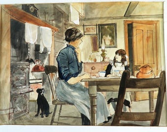 Vintage Book Illustrations Watercolour Paintings Painting Gavin Rowe Art Children's Books Original