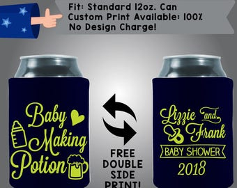 Baby Making Potion Parent Names Baby Shower Date Gender Reveal Collapsible Neoprene Baby Shower Cooler Double Side Print (BS139)