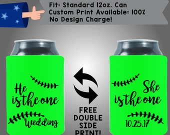 He Is The One, She Is The One Collapsible Fabric Wedding Can Coolers, Cheap Can Coolers Wedding Favors (Etsy-W334)