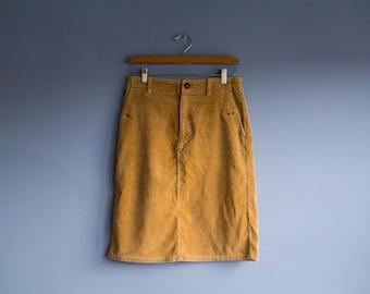 Vintage Polo Corduroy Mustard Skirt | 90s Polo Ralph Lauren Yellow Pencil Skirt | High Waisted Cotton 90's Skirt