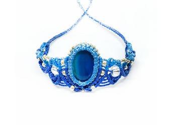 Macrame bracelet. Blue bracelet. Agate bracelet