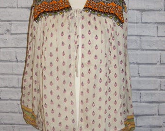 Size 14-16 vintage 70s style boho tieneck loose blouse/jacket cream paisley BNWT