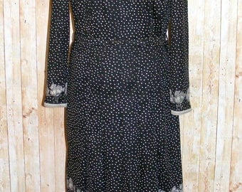 Size 14 vintage 60s long sleeve pleated midi dress polkadot/floral print (HK01)