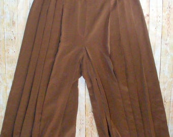 Size 12-14 vintage 80s high waist pleated maxi culotte trousers brown (HS58)