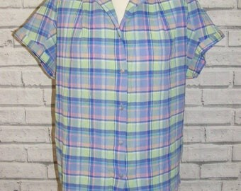 Size 14 vintage 80s short batwing sleeve loose crinkle blouse blue check (IC88)