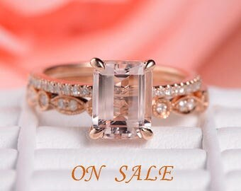 Rose Gold Engagement Ring Emerald Cut Morganite Ring Diamond Wedding Band Women Antique Anniversary Gift for Her Bridal Set Art Deco Unique