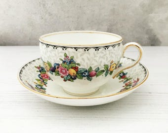 Lovely Vintage Teacup and Saucer - Crown Staffordshire - Early 20th Century