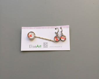 """set PIN and earrings """"dragonflies"""" pattern"""