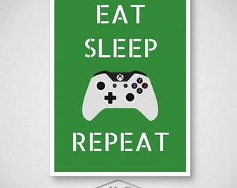 ON SALE Xbox One Video Game Poster, Eat Sleep Game Repeat Print