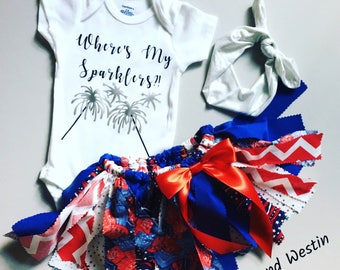Fourth of July Outfit, Fourth of July Toddler Outfit, Red white and Blue Baby Outfit, 4th of July Tutu Skirt, Baby's First Fourth of July