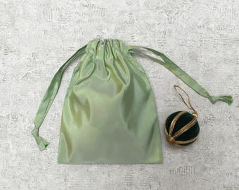 light green smallbag taffeta changing dark green hues - reusable bag - zero waste