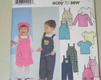 Simplicity Toddler Jumper Overalls Top Hat Pattern 9351 UNCUT 13268 Size 1 2 3