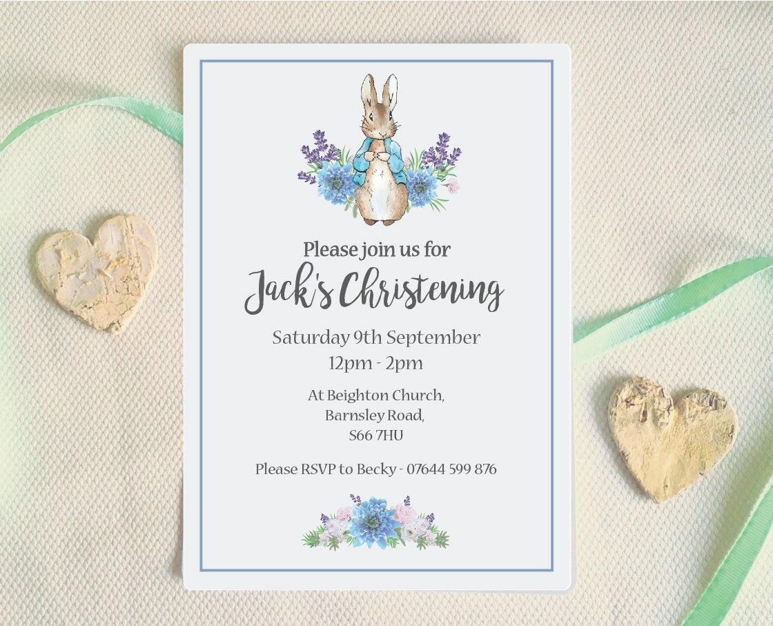 Christening Invitation Peter Rabbit Baptism invitation
