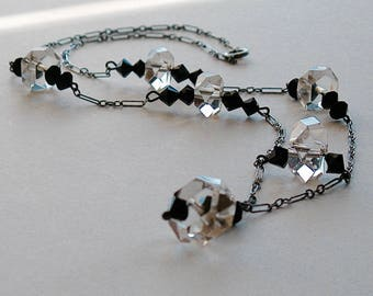 Vintage Art Deco Lavalier Necklace Faceted Czech Rock Crystal Clear Quartz and French Jet Sterling Chain 1920s
