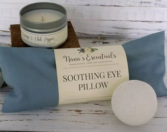 Gift Set Under 25, Valentine Gift Bridesmaid Gift, Graduation Gifts, Eye Pillow, Soy Candle, Relaxation, Pampering, All Natural, Pure