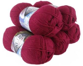 5 x 100 g yarn ALIZE SHERZOD #649 rubin